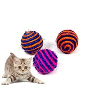Cat Toys 2 PCS RandomColor Play Chewing Toy Straw Pet Rope Weave Ball Teaser Cats Products For Pets