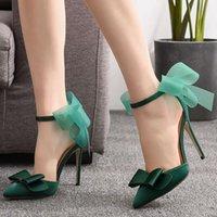 Sandals Plus Size 41 Women 2021 Pumps 11cm Satin Pointed-toe Ladies Party High Heels Stiletto Female Heeled Shoe Summer Footwear