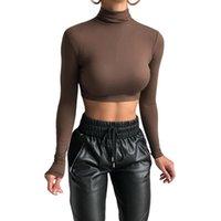 2021 Moda Mulheres Tees Turtleneck Slim Camiseta Estiramento Casual Undershirt Feminino All-Match Street Activity Actividade Colheita Mulheres T-shirt