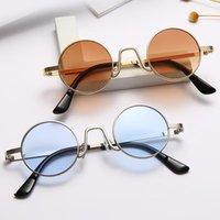Sonnenbrille Runde Dampf Punk Männer Frauen Marke Designer Kleine Kreis Sonnenbrille Vintage Metallrahmen Eyewear 9-bLS9301