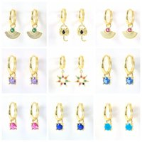 Hoop & Huggie S925 Sterling Silver Colorful Crystal Earrings For Women Girls Boho Jewelry Pendientes Plata 925 Sun Animal
