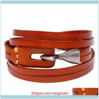 Tennis Bracelets Jewelrymultilayer Genuine Bracelet Punk 3 Color Leather Wrap Braslet For Men Viking Armband Jewelry Drop Delivery 2021 4Axe
