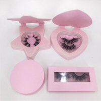 False Eyelashes Wholesale Lashes Box 25mm Rectangle Pink Color Lash Package With Star Heart Shape Case