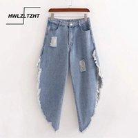 Jeans da donna HWLZLTZHT 2021 Donne strappate Lembi le donne sciolte i pantaloni a vita alta a vita alta erano sottili gambe larghe mop di cotone