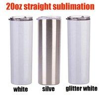 3 STILE 20OZ Sublimation Skinny Tumbler Silve Silve Bianco e Glitter Bianco Slim Cup con metallo Paglia Vacuum Viaggio Tazza Dono fai da te regalo