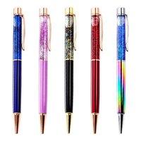 Bolígrafos de bolígrafo 500 unids / lote pluma de lujo flujo de flujo de aceite de cristal de lámina de oro metal cobre colorido polvo alto grado dinámico liquido arena