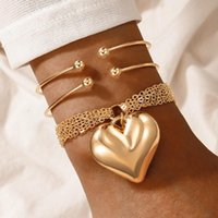 Charm Bracelets Fashion 3pcs sets Trendy Heart For Women Charms Gold Color Alloy Metal Open Bangle Jewelry Accessories Gifts