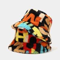 Wide Brim Hats Faux Fur Winter For Women Colorful Digital Printing Print Bucket Hat Men Panama Fisherman Caps Gorras
