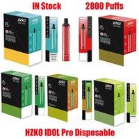 Original HZKO IDOL Pro Disposable Pod Device Kit E cigarettes 2800 Puffs 1500mAh Battery 8ml Prefilled Cartridge Vape Stick Pen Vs Bang XXL Max Flex 100% Authentic