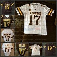 Homens wyoming cowboys marrom e branco josh # 17 allen futebol jersey adulto s-3xl faculdade de futebol jersey