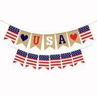 الولايات المتحدة الأمريكية شوبلات لافتات الاستقلال يوم سلاسل الأعلام الولايات المتحدة الأمريكية خطابات الرايات لافتات 4 يوليو حزب الديكور شحن مجاني OOD4858