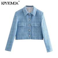 Abiti da donna Blazer Kpytomoa Donne 2021 Fashion Single Breasted Tweed Tweed Cappotto Blazer Cappotto Vintage Manica Lunga Tasche Femminili Capispalla C