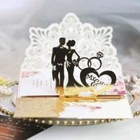 10pcs Invitaciones europeas del corte del láser 3D Tri-Fold Diamond Anillo elegante tarjeta de felicitación de la boda Favor de la decoración