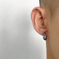 Wild Retro Tide Brand Earrings Hip-Hop Stud Street Minimalist Ins Style Titanium Steel Trend Round Jewelry Accessories Men