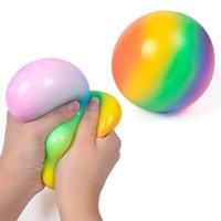 7 سنتيمتر قوس قزح تنفيس الكرة للأطفال الكبار squish squeeze المطاط الإجهاد ضغط بطيئة العجن القلق الإجهاد الإغاثة التدريج تململ H33WYJ2