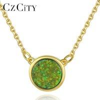 Czcity Yeni 18 K Altın Kaplama 925 Ayar Gümüş Yuvarlak Kolye Kolye Kadınlar Için Yıldönümü Zarif Collares Üç Renkli Takı Q0531