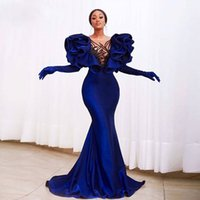 Sexy Blue Ruffled Prom Dress Long Sleeve Mermaid Formal Banquet Party Evening