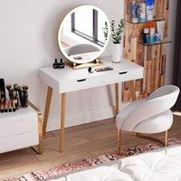 Bilgisayar Masası Yazma, Ev Ofis Dizüstü Dizüstü PC İş İstasyonu ile 2 Büyük Çekmece, Çalışma Masası Vanity Makyaj Masası Basit Modern Mobilya