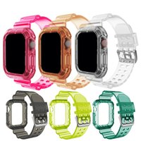 Transparent Case And Strap For Apple Watch bands 44mm 42mm 40mm 38mm Sport Wristbands Bracelet IWatch Series Se 6 5 4 3 Watchband Anti Fall Shockproof