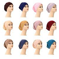 Musulman Femmes Inner Hijab Headscarf Cap Islamic Modal Strascarf Chapeaux Chaude Chaude Ninja Écharpe Bonnet Coton Coton Caps A772 319 U2