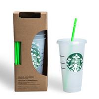 진짜 사진 24oz / 710ml 투명 플라스틱 컵 주스 컵 뚜껑과 짚을 가진 색상 재사용 가능한 음료 컵 스타 벅스 컵