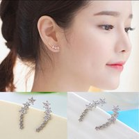 Stud Arrival Sell Long Little Crystal Star 925 Sterling Silver Female Earrings Jewelry Christmas Gift Anti-allergic