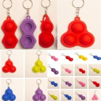 2021 Push Bubble Pop It Fidget Keyring Simple Dimple Toys Key Holder 3 2 Balls Squeezy Balls Stress Reliever Key Chain Bag Pendants