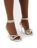 Sandálias Dddyzhy Mulheres Gladiador Sapatos Sexy Branco Corda Bead Salto Alto Verão Vestido Fivela Bombas Tamanho 42
