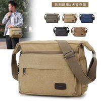 Backpack Multifunction Canvas Messenger Bag Men's Shoulder Casual Simple Retro Large Capacity Wear-Resistant Cross-Border