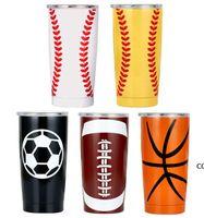 20OZ 30OZ Baseball Tumbler Mugs Softball Basketball Football Stainless Steel Cups Car Beer Cups Vacuum Insulated Mugs 11style DHB10186