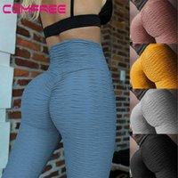 Yoga calças esporte cangings cintura alta ruched bulifing treino leggings sem costura espólio textured apertada ginásio fitness sportswear