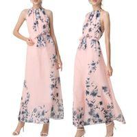 Casual Dresses Summer Chiffon Maxi Long Dress With Lining Floral Print Tie Waist Halter Sukienka Plus Size For Women 4xl 5xl 6xl