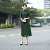 Casual Dresses Improved cheongsams vintage Chinese lace buckle seam long dripping dress retro bodycon rents qipao QNNN
