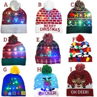 ON SALE! 2022 New Year LED Knitted Christmas Hat Beanie Light Up Illuminate Warm Hat For Kids Adults New Year Christmas Decor