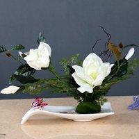 Vazolar Çin Klasik Porselen Vazo + Manolya Sahte Çiçek Figürinler El Sanatları Kahve El Çay Süs Dekorasyon Sanatı