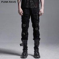 Punk Rave Punk Slim Slim Fit Pantalones decadentes Handsome Hartered Algodón Gótico Gótico Daily Twill Tejido Casual Lápiz Pantalones Streetwear