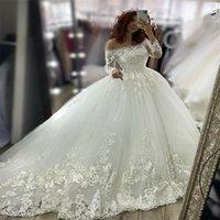 فاخر الكرة ثوب فساتين الزفاف طويلة الأكمام الرباط appliqued أثواب الزفاف أنيقة دبي دبي مخصص bateau vestidos دي novia