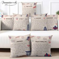 Cushion Decorative Pillow Fuwatacchi Country Name Letter Pillowcase Abstract Cushion Cover 45x45 Polyester Sofa Car Home Decor Room