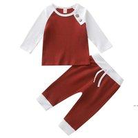 Designer Abbigliamento Set Abiti Moda Bambini a strisce Top Pantaloni Suits Bambini T-shirt Solid Pantaloni Abiti casual in due pezzi DHB5240