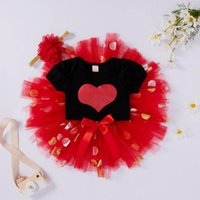 Clothing Sets #50 Baby Girl Clothes Set Infant Girls Valentine's Day Hearts Romper Bodysuit+tulle Skirts Outfits Kids Children