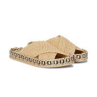Top Calidad Beige FF trenzado Raffia Motif Sandalias Sandalias Mujeres Zapatillas Zapatos Pisos Sandalia Diseñadores de Lujo Diapositivas Slipper Slipper Factory Calzado