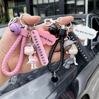 Number Plate Couple a Pair of Simple Creative Cute Little Girl Key Chain Ring Bell Pendant