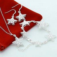 925 plata esterlina de 18 pulgadas collar de cadena de cadenas estrella de cinco puntas conjuntos de pendientes para la joya de la fiesta de compromiso de la boda de las mujeres