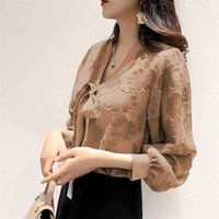 Women's Spring Autumn Style Chiffon Blouses Shirt Women's V-Neck Lantern Sleeve Solid Color Lace Up Bow Elegant Tops DD9065 210415