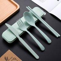 3 قطعة / المجموعة السفر السكاكين المحمولة السكاكين مربع القمح القش شوكة ملعقة طالب أواني الطعام مجموعات المطبخ أدوات المائدة