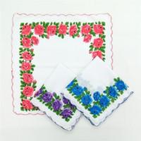 Ev Tekstili Sıcak 100% Pamuk Kesici Bayanlar Zanaat Vintage Hanky Çiçek Düğün Mendil 30 * 30 cm Rastgele Renk S