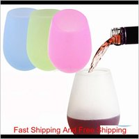 Silicone Rubber Wine Glass Wine Shatterproof Beer Cups For Outdoor Bbq Camping Wine Glasses370Ml(12.5Oz) Vf0171 Clqhy Xoelx