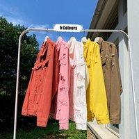 İlkbahar Yaz Yeni Kalite Denim Ceketler Erkekler Marka Artı Boyutu Delik Erkek Casual Kot Ceket Uzun Kollu Yaka Ceket Mens