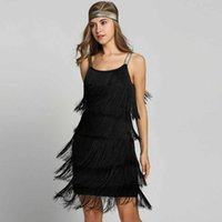 Vestalık Vestidos 1920'ler Flapper Kız Fantezi Elbise Büyük Gatsby Kostümleri Slash Boyun Strappy Fringe Salıncak Parti Kadınlar 210608