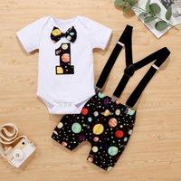 Abbigliamento set 40 # Bambini Abbigliamento Baby Boys Girls Star Romper + Papillon Tie Pantaloncini Brevi Brevitini Abiti da compleanno Estate Due pezzi Set Ropa Niña